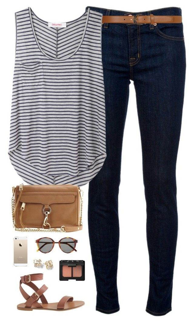 ootd by classically-preppy on Polyvore featuring Organic by John Patrick, J Brand, J.Crew, Dorothy Perkins, Yves Saint Laurent, NARS Cosmetics, Rebecca Minkoff and Kate Spade