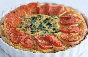 Spinaziequiche met tomaat