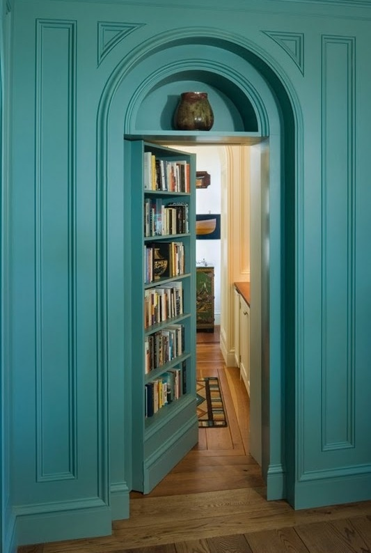 Love this color paint, and so into the idea of a bookshelf / secret door.