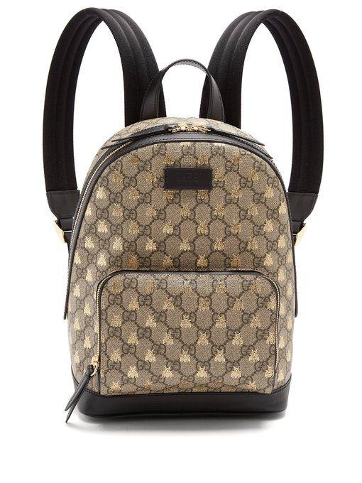 5646cf08e8c55b Gucci GG Supreme bee-print backpack   BEE HIVE...   Bags, Backpacks ...