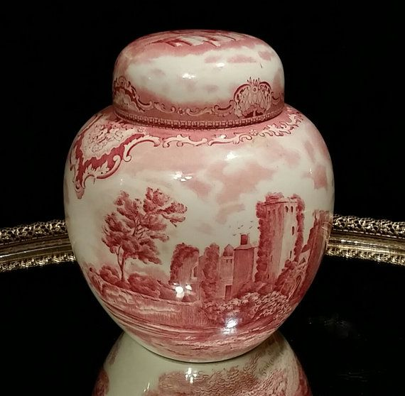 Large Old Britain Castles Red English Transferware Ginger