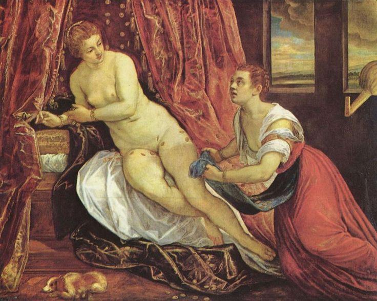Jacopo Tintoretto.  Danae. 2. Hälfte 16. Jh., Öl auf Leinwand. Lyon, Musée des Beaux-Arts. Venezianische Schule. Italien. Manierismus.  KO 00914