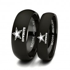 ************ANY TEAM************ 2 Piece Couple Set 8mm & 6mm Black Tungsten Bands with Domed Edge NFL Football Dallas Cowboys Logo Laser Engraved Ring