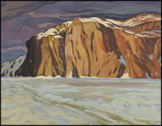 A.Y. Jackson - Mazinaw Lake March Bon Echo 25 x 32.25 Oil on Canvas (1924)
