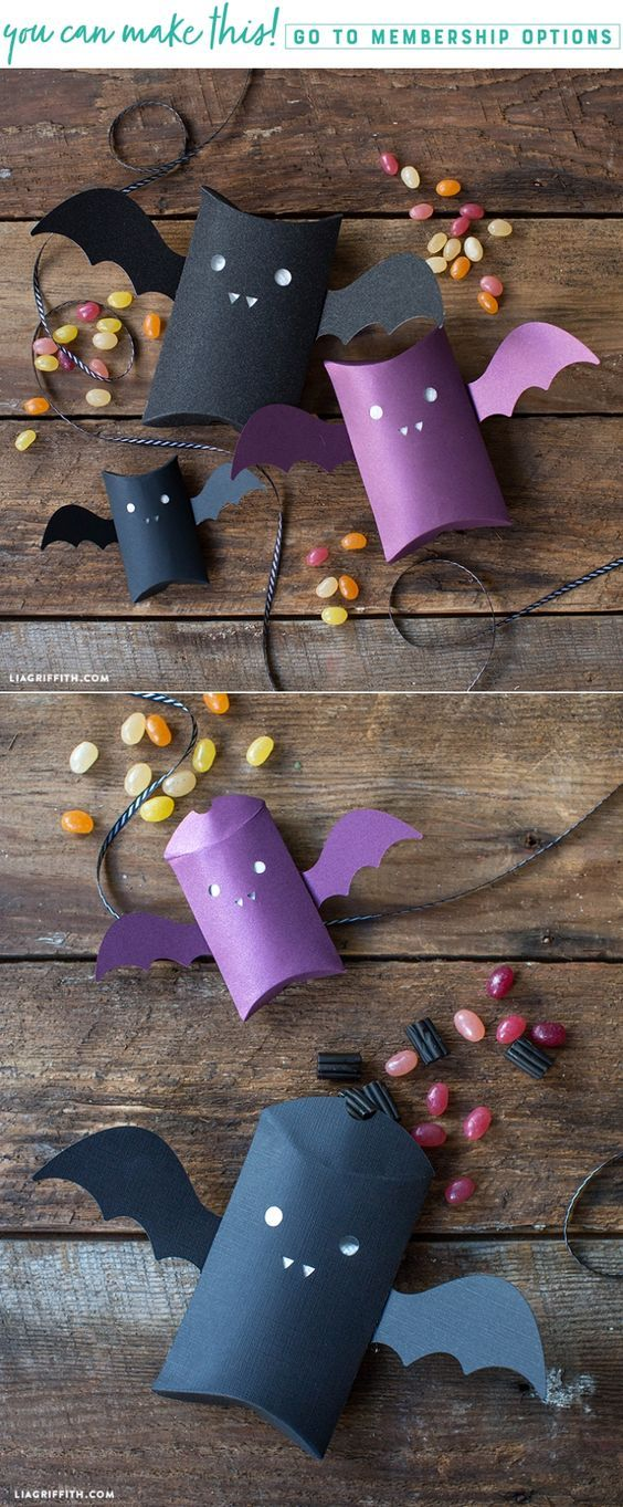 DIY Papercut Pillow Box Bat - www.LiaGriffith.com #halloweendiy #diyhalloween #treatbox #cricutmade #cricutmaker