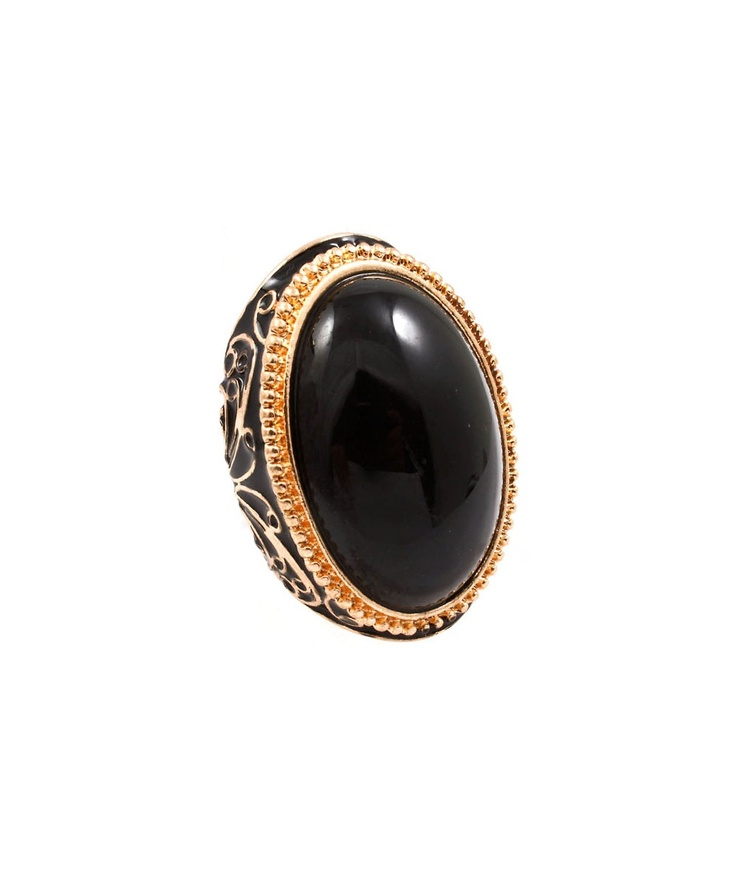 Painted Decal Oval Ring in Black #shoplately