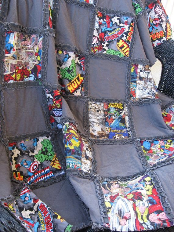 WELCOME TO OUR LISTING FOR this super cool Rag Quilted blanket featuring THROW SIZE 58 x 58 inches SUPERHEROES! Including The Amazing Spiderman,