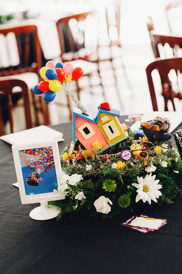 These two made amazing Disney-themed centerpieces out of their childhood toys...UP centerpiece!