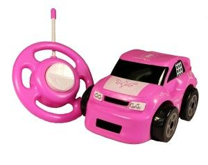Kid Galaxy: My 1st RC Gogo Auto Bubble Gum Racer Vroom Vroom Vroom. Racing is not just for the boys. Unique steering wheel style remote.  Bubble Gum racer and Fire Truck work on 49MHz. If you buy two, make sure you go across these groups or else you will have controller problems. http://awsomegadgetsandtoysforgirlsandboys.com/kid-galaxy/ Kid Galaxy: My 1st RC Gogo Auto Bubble Gum Racer