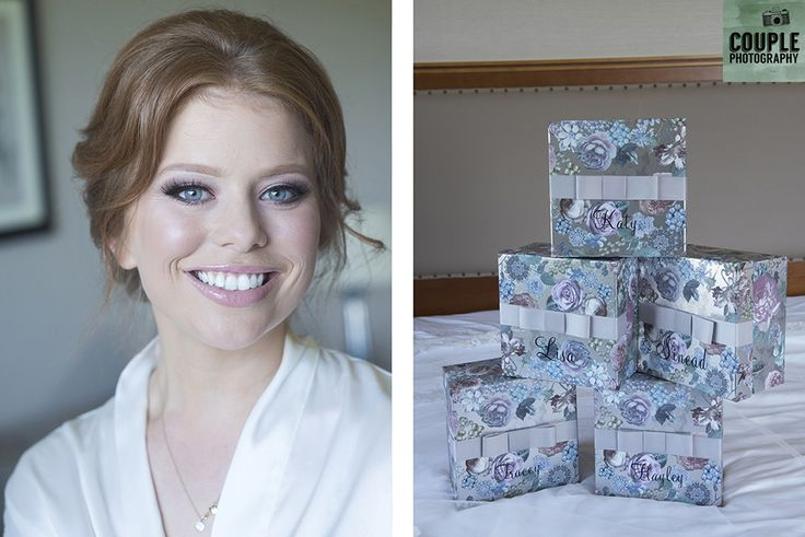 The beautiful red haired bride & her gifts for her bridesmaids. Weddings at Druids Glen Hotel by Couple Photography.