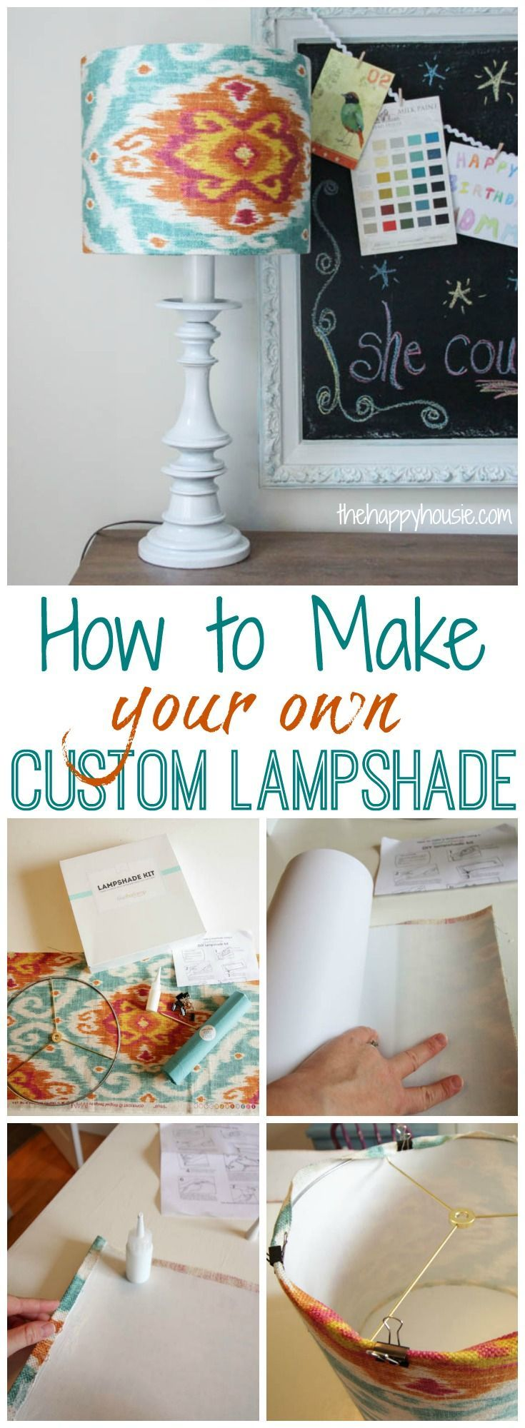 How to make your own custom lampshade tutorial using I love that lamp kit at thehappyhousie.com