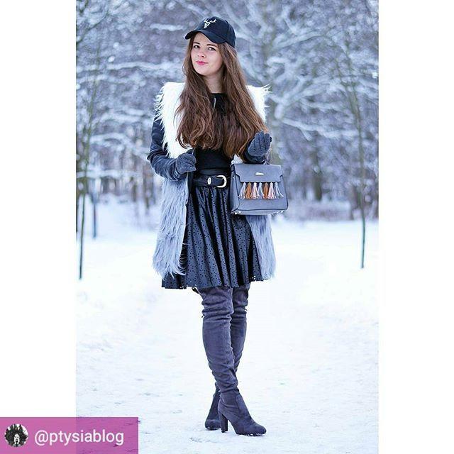 Ambasadorka marki naia w spódniczce z wycinanej skóry #naiastyle #skirt #leatherskirt #miniskirt #spódniczka #skorzanaspodnica #zakupyonline #shopping