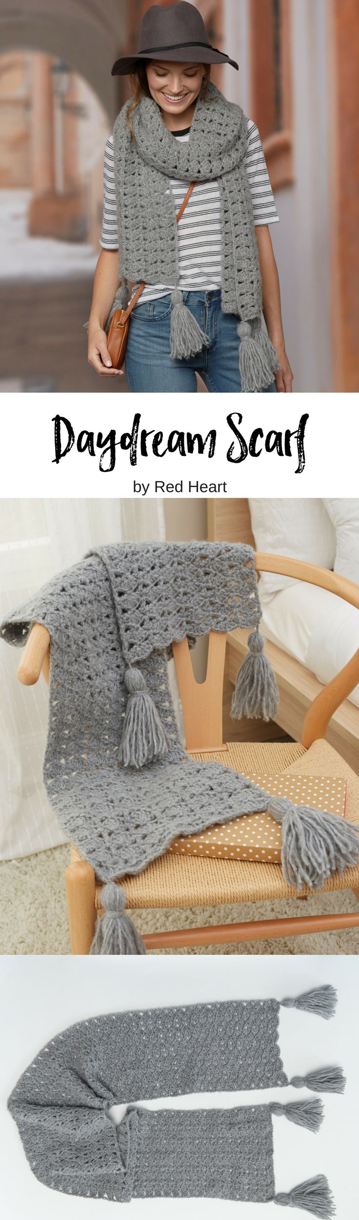 Daydream Scarf crocheted in Dreamy. This brushed yarn is so nice to wear and feels just as right whether you dress it up or dress it casual. Cluster stitches work up quickly so you can make it and wear it (or give it) in little time.