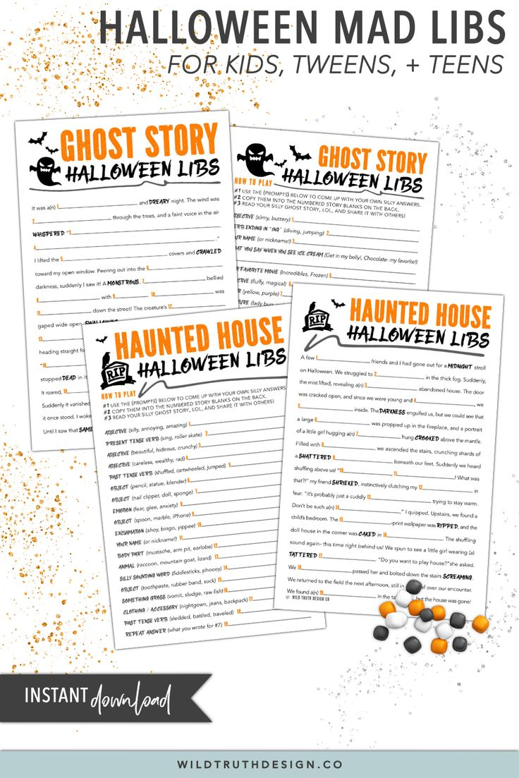 Halloween Mad Libs For Tweens Games For Kids Party