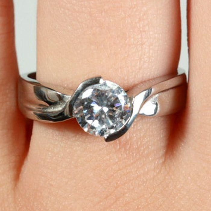 Style Sanctuary  - Cubic Zirconia Solitaire Fancy Twist Engagement Ring, £8.99…