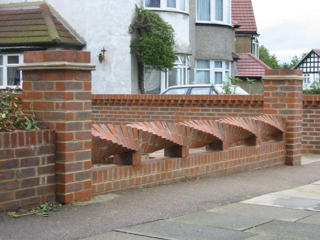Brickwork with a twist brickwork pinterest twists for Brick fence designs plans