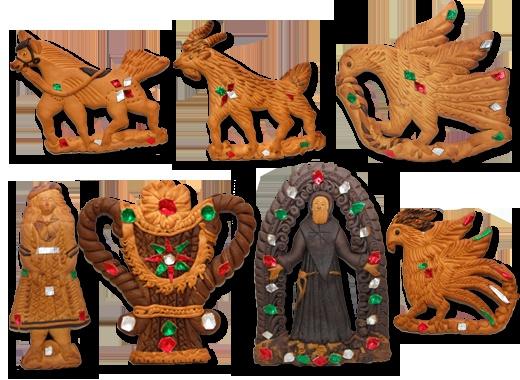 """Dal termine dialettale""""I mustazzoli"""", sono biscotti duri fatti con farina e miele, (ed in alcune versioni, anche mosto di vino caldo), aventi forme svariatissime e decorati con carta stagnola vivacemente colorata. Le forme più prodotte sono il pesce, il paniere, il cavallo, la donna, il cuore, la esse barocca e sono decorati da strisce di carta stagnola colorata al rosso, verde ed argento."""