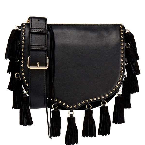 Rebecca Minkoff Small Tassel Crossbody Saddle Bag ($210) ❤ liked on Polyvore featuring bags, handbags, shoulder bags, bolsos, black, crossbody handbags, leather shoulder bag, leather cross body purse, leather crossbody purse and saddle bags