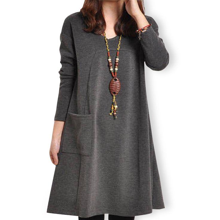 Vestido bolsillos Casual manga larga, otoño invierno estilo coreano mujeres con gran tamaño inferior en Vestidos de Moda y Complementos Mujer en AliExpress.com   Alibaba Group