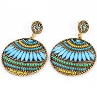 Wish    Women Fashion Summer Bohemia Earring Jewelry Alloy Earrings Party Beads  Round National Wild  Dangle Earring Sky Blue Brown Green Red Stud Earring Personality Wedding Gift for Women Party Dress