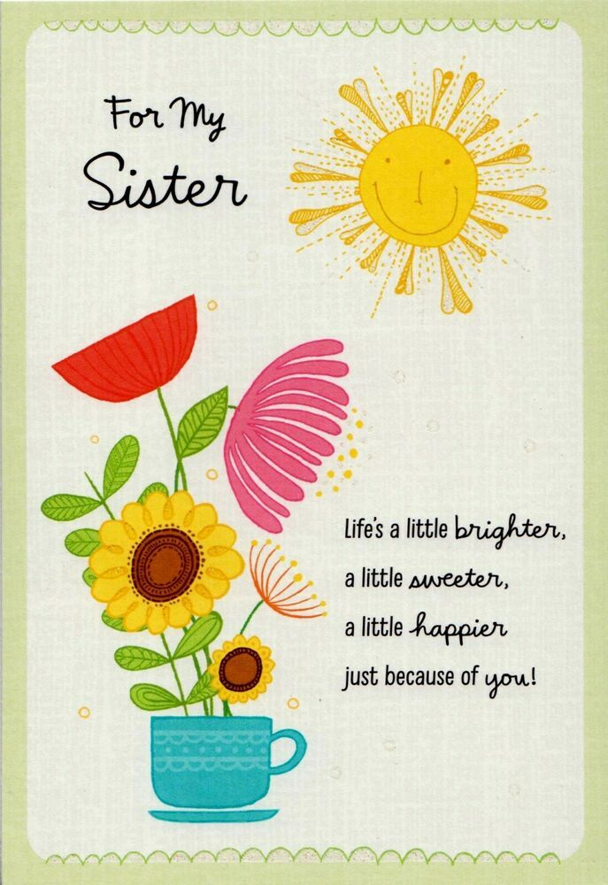 Hallmark Happy Birthday Sister Sunshine With Happy Face Sun Flower Greeting Card Hal In 2021 Happy Birthday Greeting Card Birthday Greetings Friend Birthday Greetings