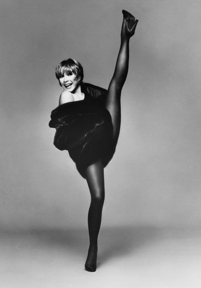 Shirley Maclaine does a high kick in the famous Blackglama ad campaign, What becomes a Legend most? Had forgotten about these ads. Very popular when I was growing up in  pre-PETA times.