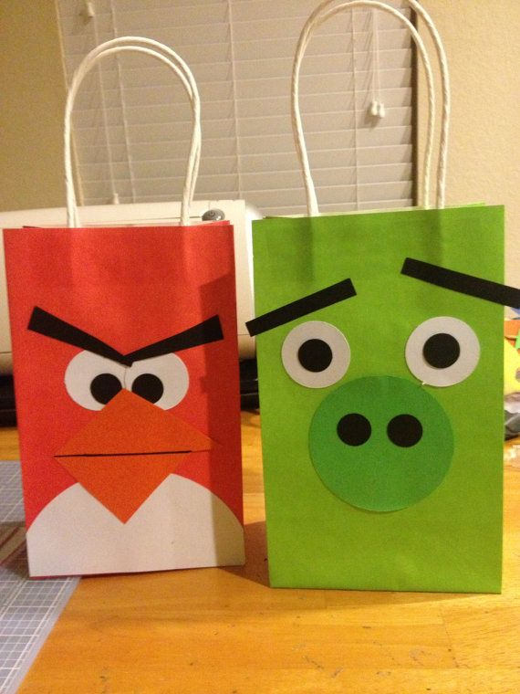 Angry Bird Party Favor Bags via Etsy- Could make these