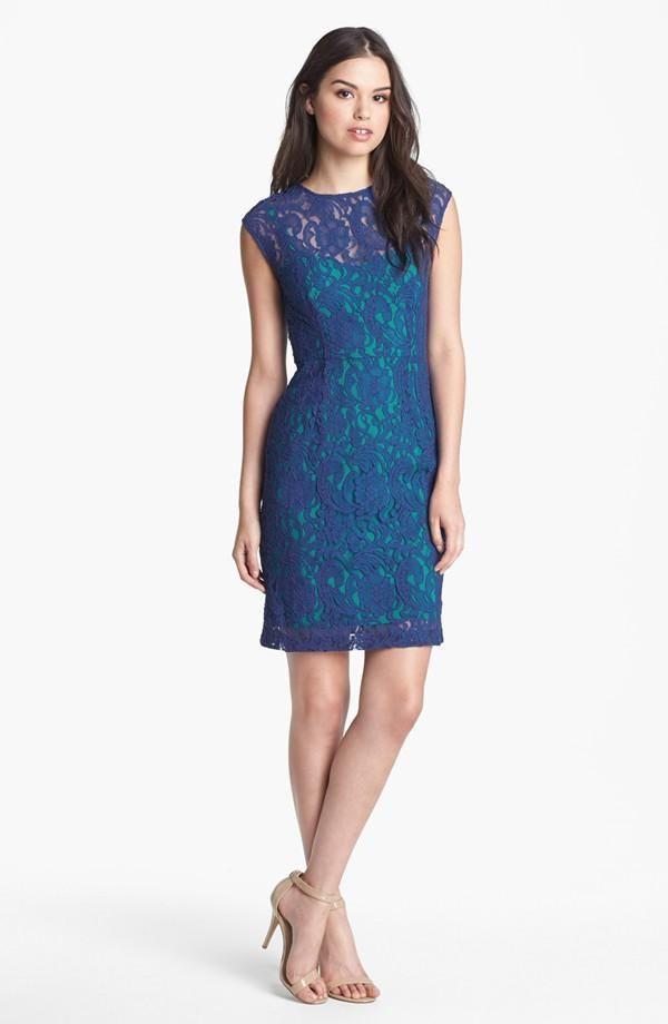 Beautiful blue & green lace dress