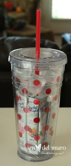 Teachers gift... stay cool this summer. Drink cup with plastic ice cubes and crystal light