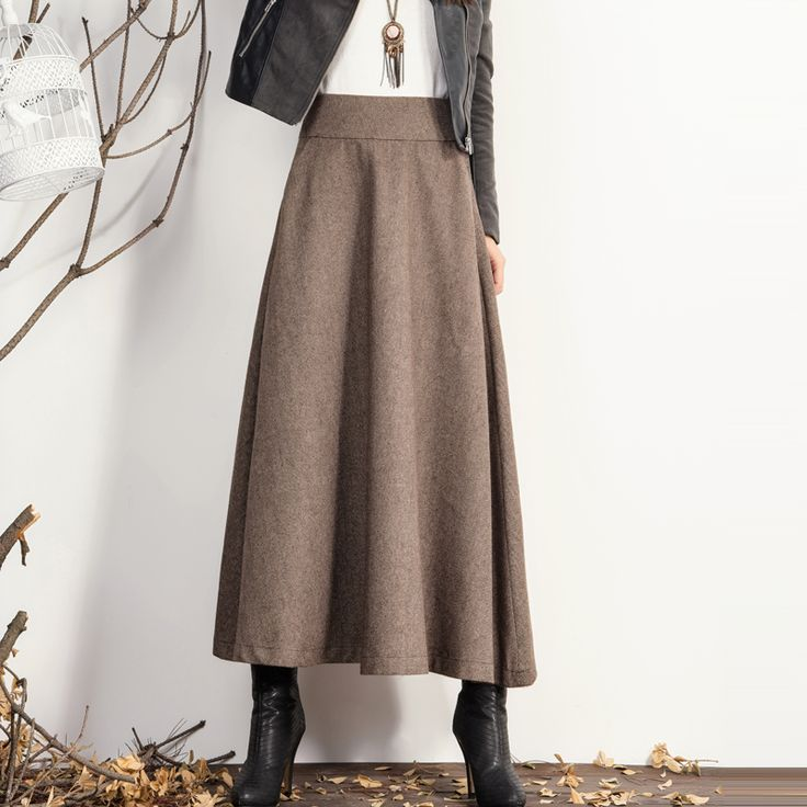 Long a-line skirt with boots