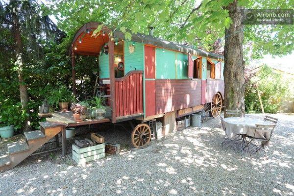 Colorful gypsy wagon in Lyon, France