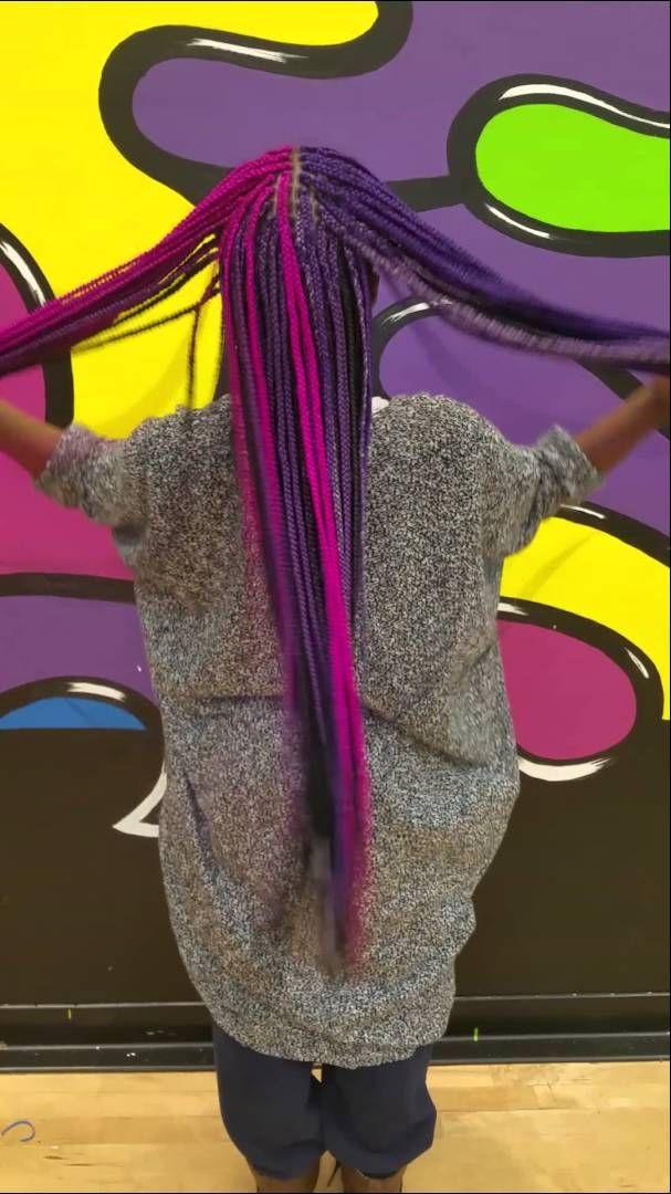 Traci/Supa BlackGirl rockin her Fuschia pink and purple braids! Totally…