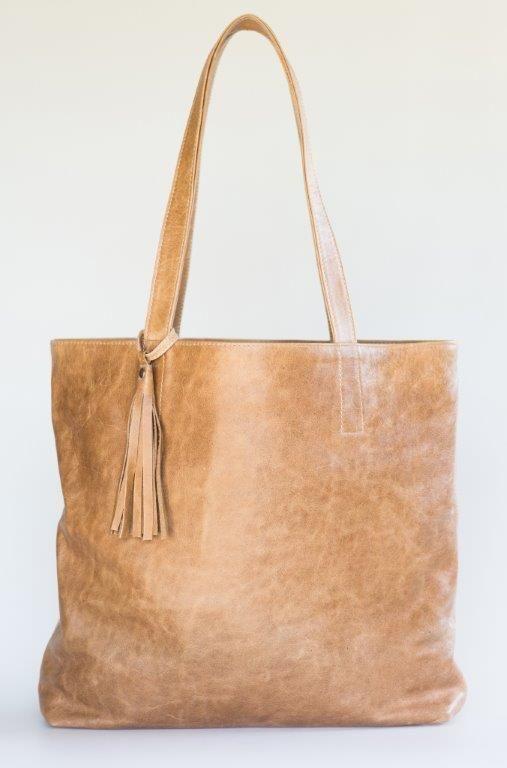 Mally tan leather tote handbag