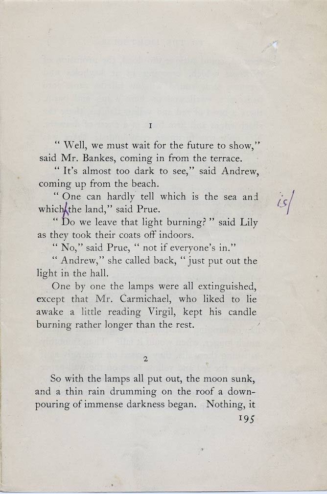 Virginia Woolf's proof corrections to 'Time Passes' section from 'To the Lighthouse'.