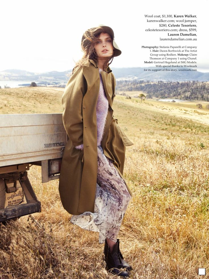 visual optimism; fashion editorials, shows, campaigns & more!: country strong: gertrud hegelund by stefania paparelli for elle australia april 2014