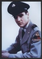 formal dress hat was worn by Elvis Presley during his stint in the army when he was stationed in Germany. It comes with a certificate of authenticity from Vince Everett of the Elvis Presley Museum in the United Kingdom. Also comes with picture of Elvis wearing this hat, or a very similar one. Very good condition.