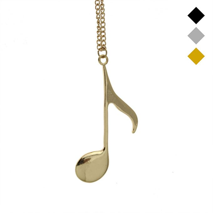 2016 New Hot Women Fashion Jewelry Gold/Silver/Black Tone Music Notes Pendant Girls Kids Gift Short Necklace EG043 Free Shipping