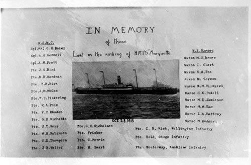 This memorial postcard shows the troop transport Marquette with a list of the 32 members of the New Zealand Medical Corps, New Zealand Army Nursing Service and NZEF lost in the sinking on 23 October 1915.