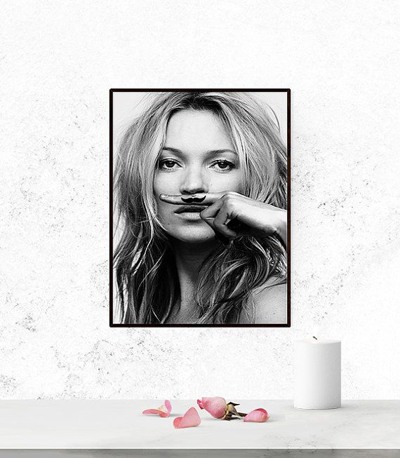 Kate Moss poster. Fashion poster. Printable poster. por Byoliart