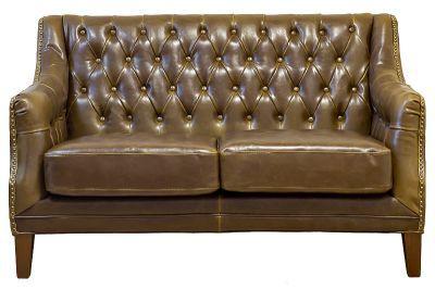 Диван двухместный кожа-светло-коричневый 82 x 138 x 84 см