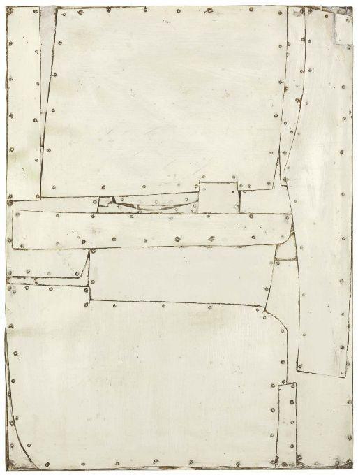 "workman:destina-terre: ""M-3-62"" by Conrad Marca-Relli, 1962 Oil on aluminum collage on panel 32"" x 34 inches 81.3cm x 61cm"
