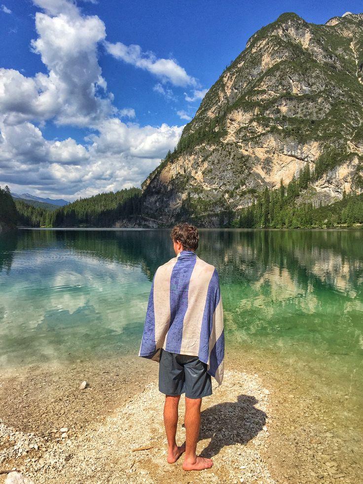 Enjoying a quick dip at Lago di Braies, Italy #sandycovetradingco #italy