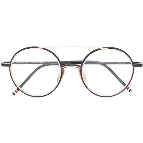 Thom Browne round frame glasses (19 595 UAH) ❤ liked on Polyvore featuring accessories, eyewear, eyeglasses, black, thom browne glasses, thom browne, thom browne eyewear and unisex glasses