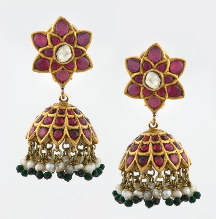 India | Pair of ruby 'Jhumka' ear pendants | Gold, rubies, seed pearls, emeralds and diamonds.