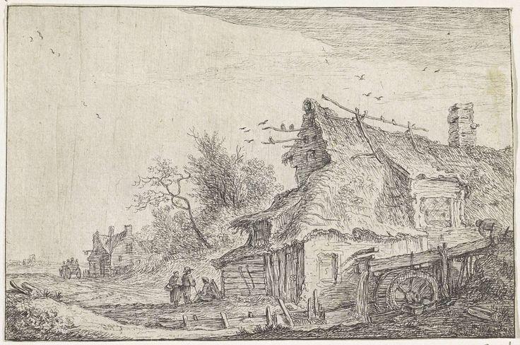 Anthonie Waterloo | Dorpsgezicht met een watermolen, Anthonie Waterloo, 1630 - 1663 | In een landschap staan enkele huizen. Rechts staat een huis met een rieten dak en een watermolen. Aan de voorkant van het huis zijn enkele figuren weergegeven.