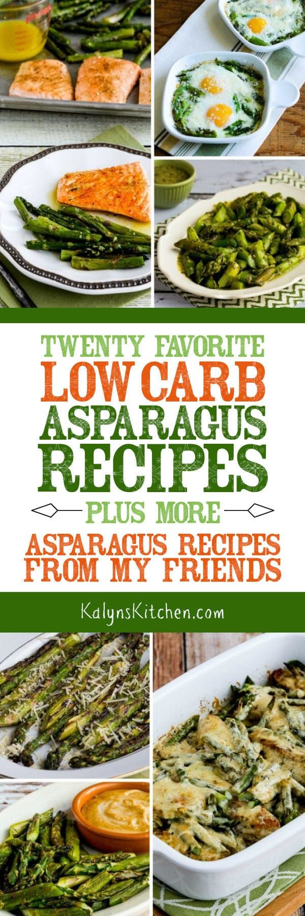 It's always a treat when fresh asparagus starts going on sale, and here are Twenty Favorite Low-Carb Asparagus Recipes (plus more asparagus recipes from my friends)! Enjoy if you're an asparagus fan like I am! [found on KalynsKitchen.com] #Asparagus #AsparagusRecipes #LowCarb #LowCarbAsparagusRecipes