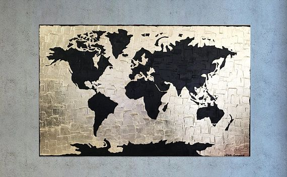 World map painting canvas world map decor large painting art world map painting canvas world map decor large painting gumiabroncs Choice Image