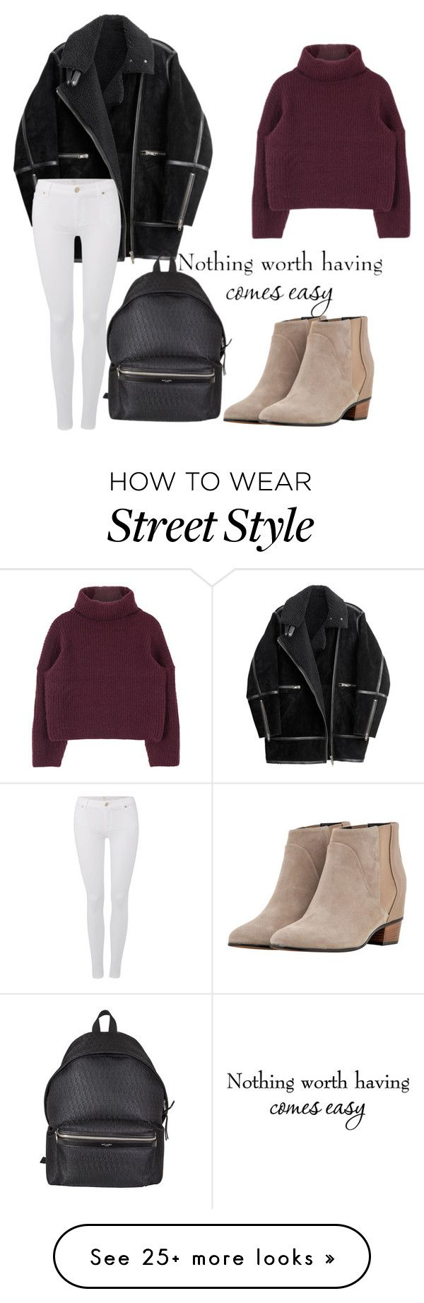 """""""street style"""" by mxrry on Polyvore featuring Golden Goose, H&M, 7 For All Mankind and Yves Saint Laurent"""