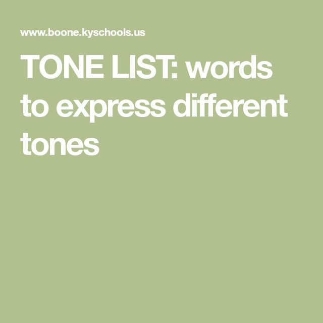 TONE LIST: words to express different tones