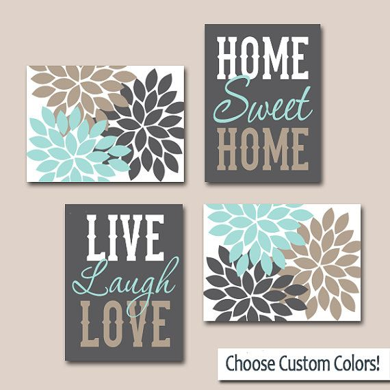 ★WALL ART CANVAS or Prints Live Laugh Love Home Sweet Home Quote Home Decor Artwork Picture Flower Burst Floral Set of 4 Choose Your Colors  ★Includes 4 pieces of wall art ★Available in PRINTS or CANVAS (see below)  ★SIZING OPTIONS Available from the drop down menu above the add to cart button with prices. >>>  ★PRINT OPTION Available sizes are 5x7, 8x10, & 11x14 (inches). Prints are created digitally and printed with UltraChrome Hi-Gloss ink on professional 68lb satin luster photo paper…